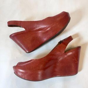 Kork-Ease Sarah Leather Wedges PeepToe Slingback 9